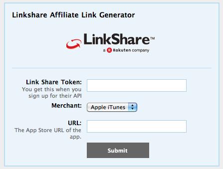 App Store (Link Share) Affiliate Link Generator · brandontreb com